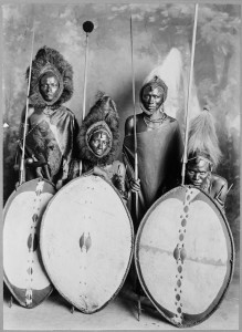 Masai_warriors_in_full_war_dress,_Kenya